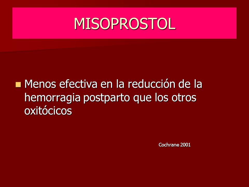 MISOPROSTOL Menos efectiva en la reducción de la hemorragia postparto que los otros oxitócicos.