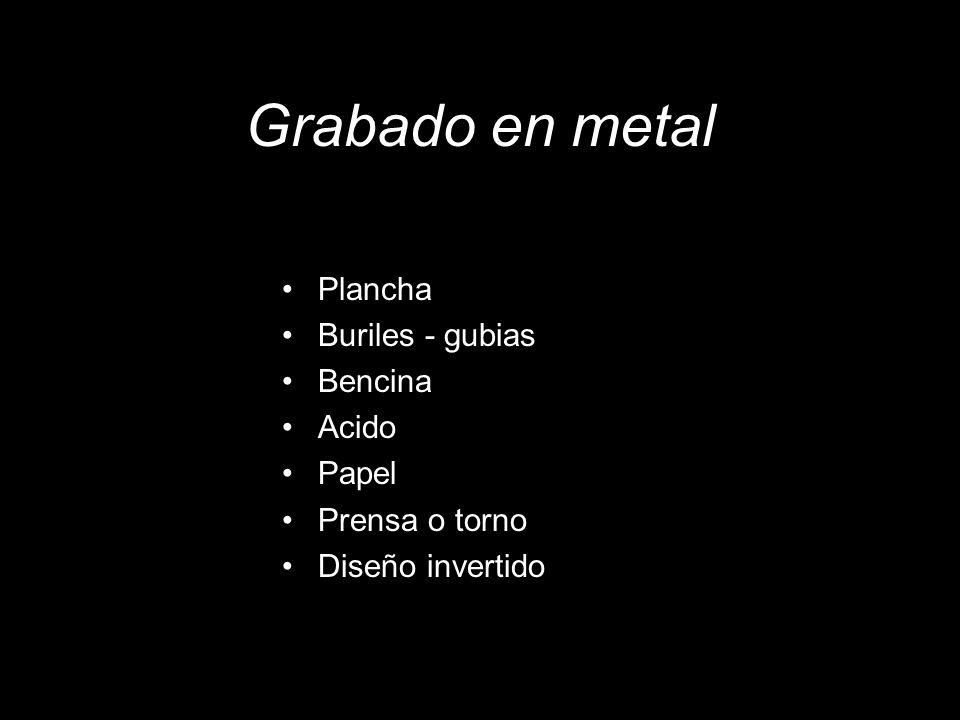 Grabado en metal Plancha Buriles - gubias Bencina Acido Papel