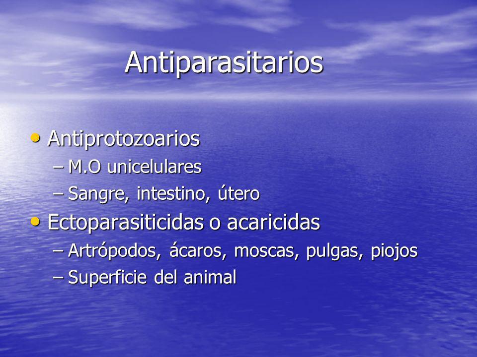 Antiparasitarios Antiprotozoarios Ectoparasiticidas o acaricidas