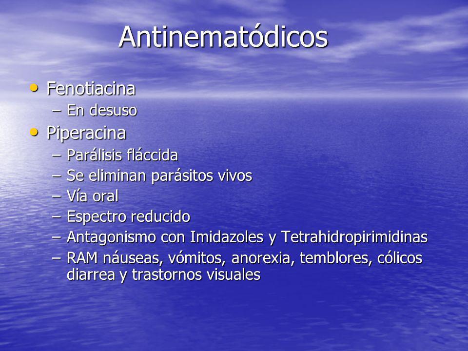 Antinematódicos Fenotiacina Piperacina En desuso Parálisis fláccida