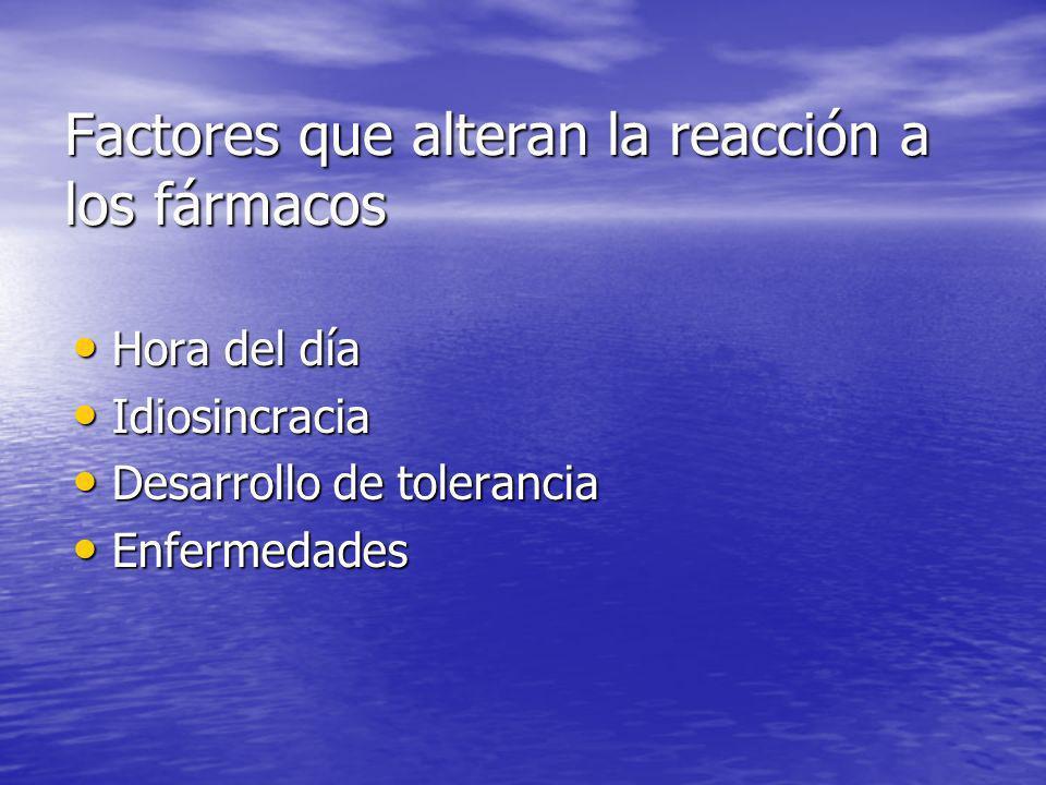 Factores que alteran la reacción a los fármacos