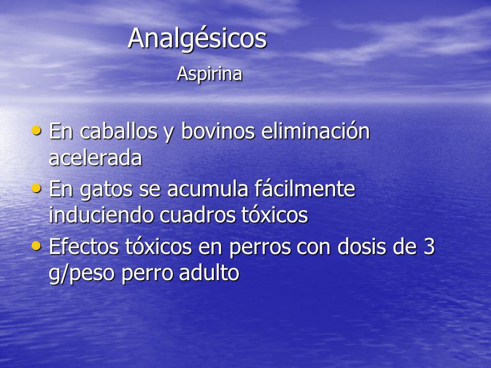 Analgésicos Aspirina En caballos y bovinos eliminación acelerada