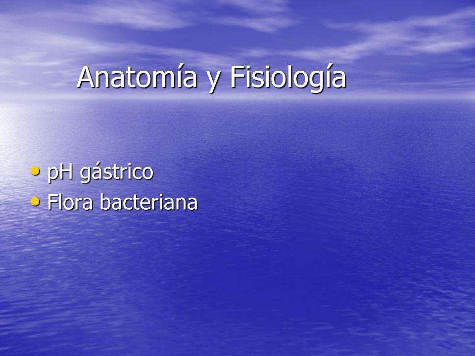 Anatomía y Fisiología pH gástrico Flora bacteriana