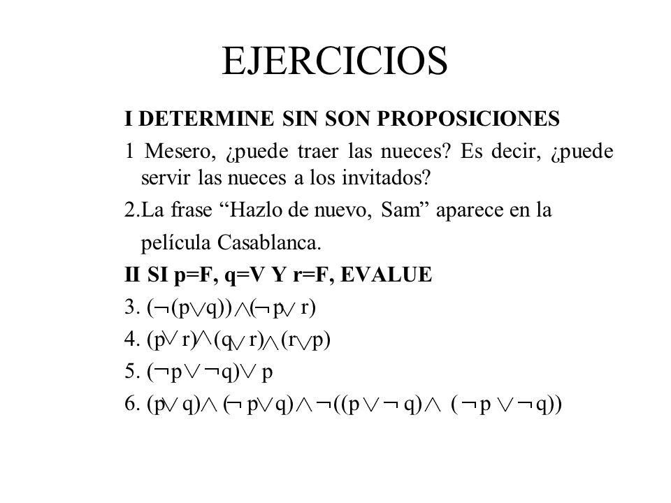 EJERCICIOS I DETERMINE SIN SON PROPOSICIONES