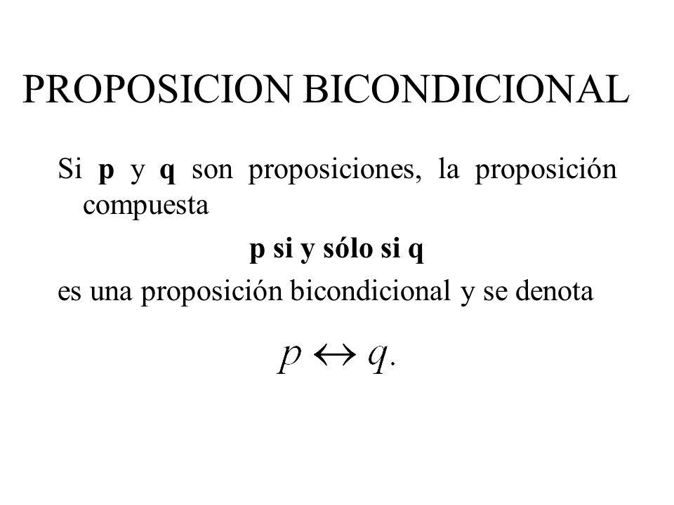 PROPOSICION BICONDICIONAL