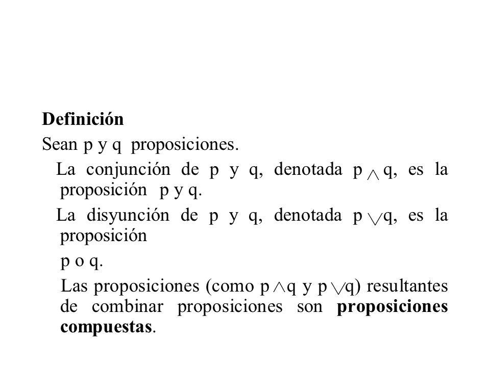 Definición Sean p y q proposiciones. La conjunción de p y q, denotada p q, es la proposición p y q.
