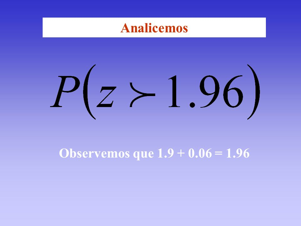 Analicemos Observemos que 1.9 + 0.06 = 1.96