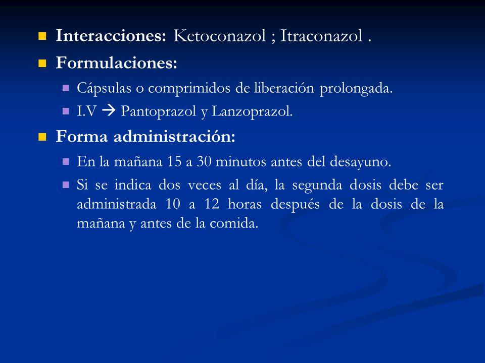 Interacciones: Ketoconazol ; Itraconazol . Formulaciones: