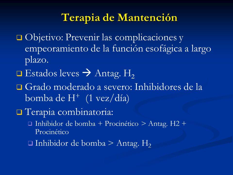 Terapia de MantenciónObjetivo: Prevenir las complicaciones y empeoramiento de la función esofágica a largo plazo.