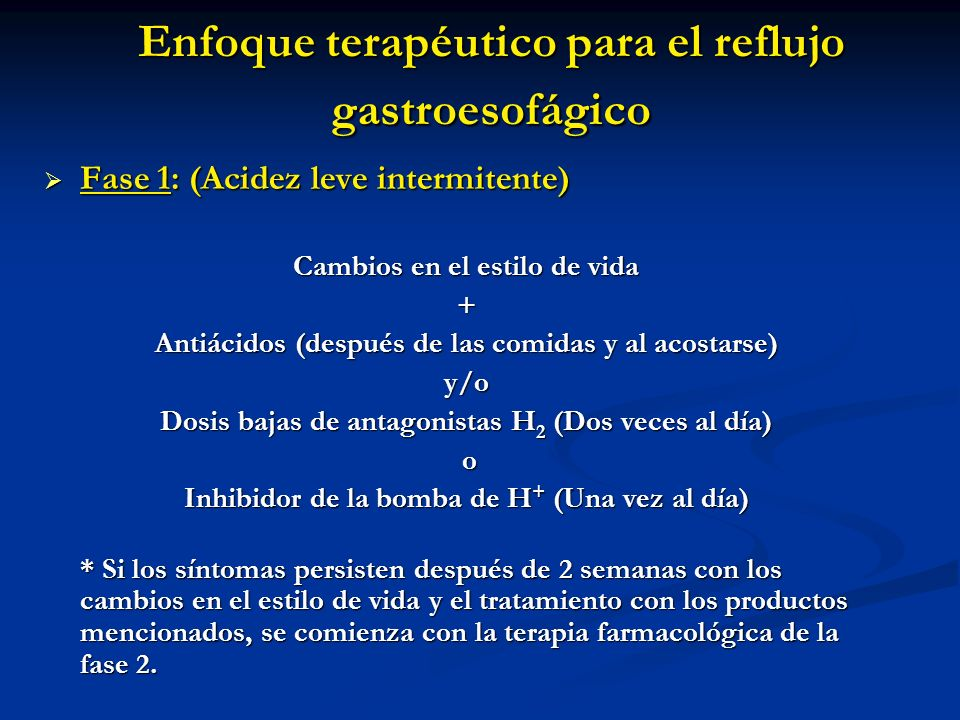 Enfoque terapéutico para el reflujo gastroesofágico