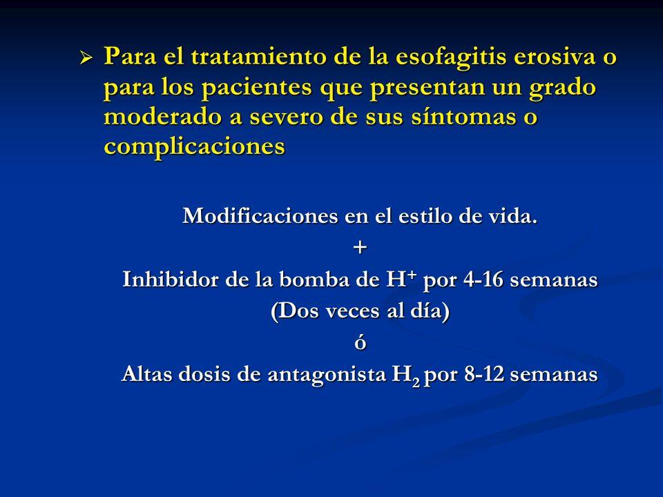 Para el tratamiento de la esofagitis erosiva o para los pacientes que presentan un grado moderado a severo de sus síntomas o complicaciones
