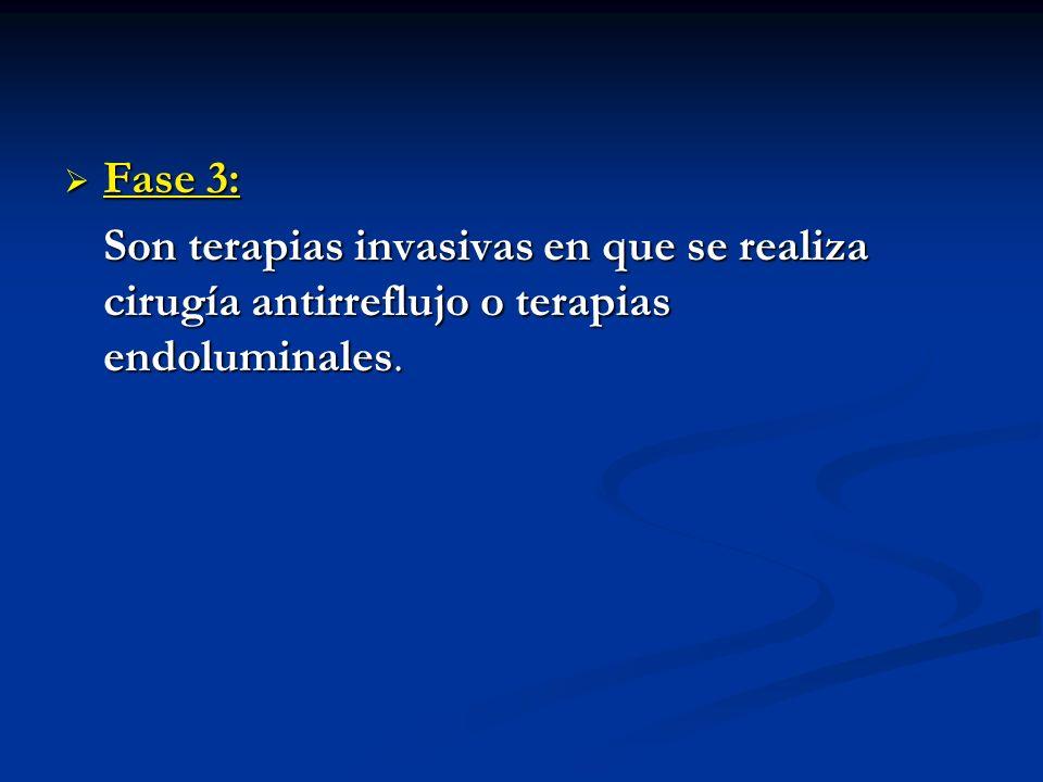 Fase 3: Son terapias invasivas en que se realiza cirugía antirreflujo o terapias endoluminales.