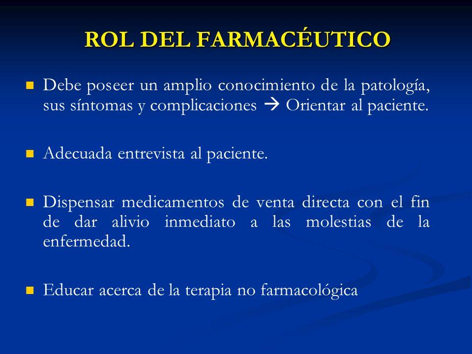 ROL DEL FARMACÉUTICODebe poseer un amplio conocimiento de la patología, sus síntomas y complicaciones  Orientar al paciente.