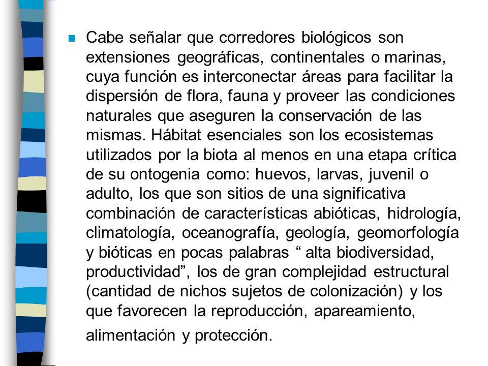 Cabe señalar que corredores biológicos son extensiones geográficas, continentales o marinas, cuya función es interconectar áreas para facilitar la dispersión de flora, fauna y proveer las condiciones naturales que aseguren la conservación de las mismas.