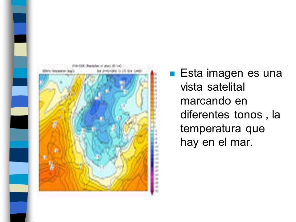 Esta imagen es una vista satelital marcando en diferentes tonos , la temperatura que hay en el mar.