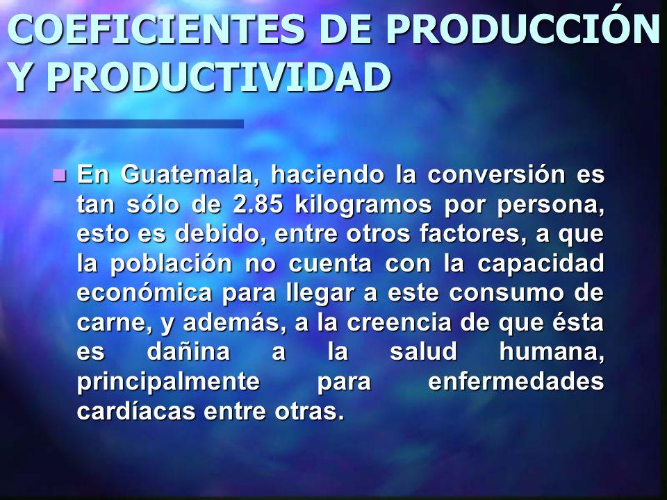 COEFICIENTES DE PRODUCCIÓN Y PRODUCTIVIDAD