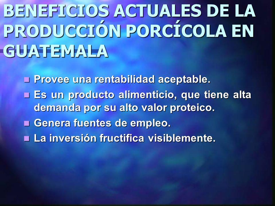 BENEFICIOS ACTUALES DE LA PRODUCCIÓN PORCÍCOLA EN GUATEMALA