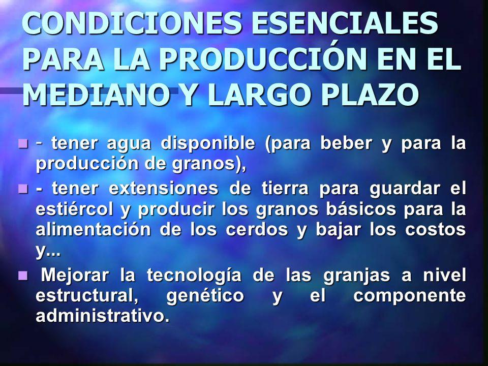 CONDICIONES ESENCIALES PARA LA PRODUCCIÓN EN EL MEDIANO Y LARGO PLAZO