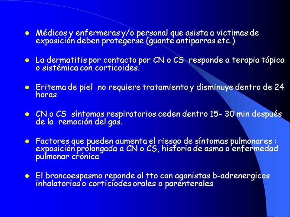 Médicos y enfermeras y/o personal que asista a victimas de exposición deben protegerse (guante antiparras etc.)