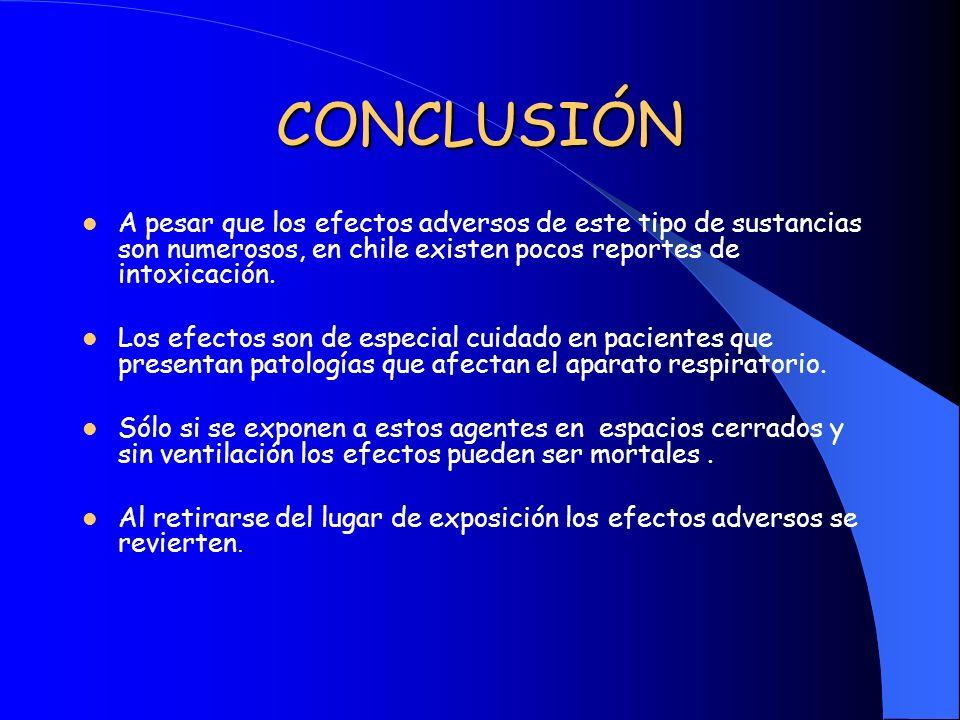 CONCLUSIÓN A pesar que los efectos adversos de este tipo de sustancias son numerosos, en chile existen pocos reportes de intoxicación.