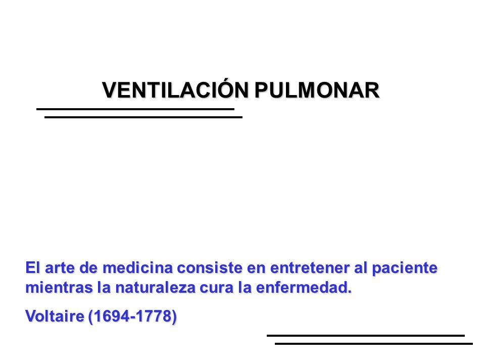 VENTILACIÓN PULMONAR El arte de medicina consiste en entretener al paciente mientras la naturaleza cura la enfermedad.