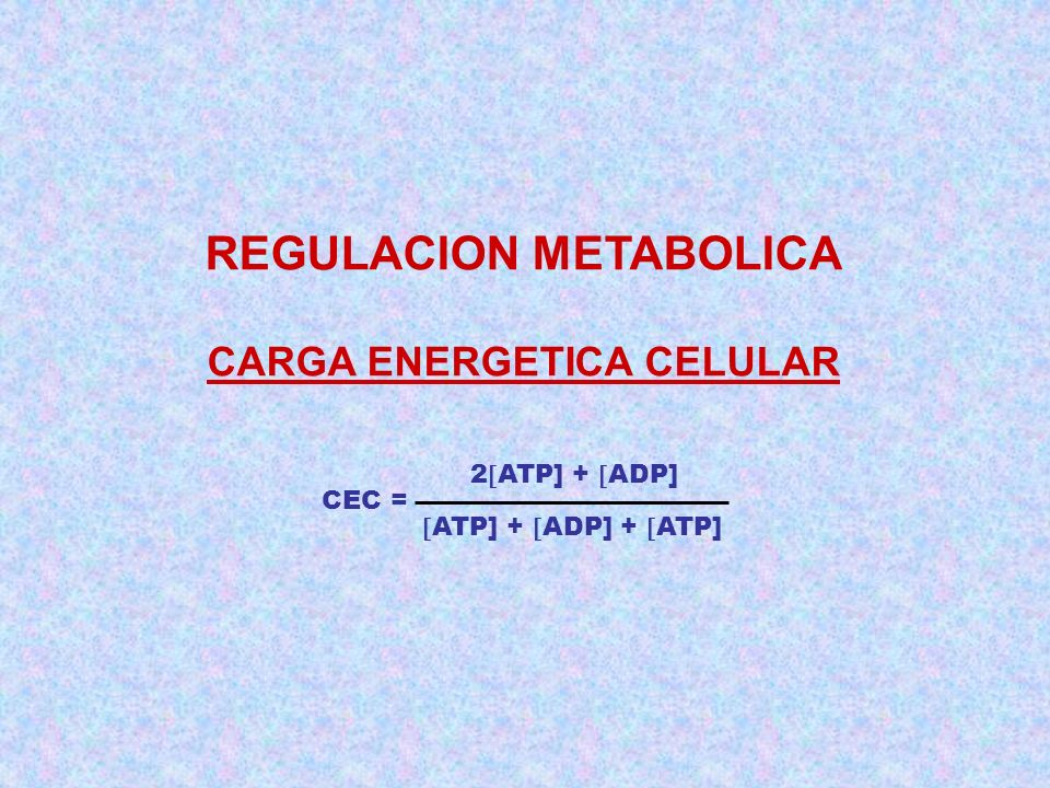 REGULACION METABOLICA CARGA ENERGETICA CELULAR