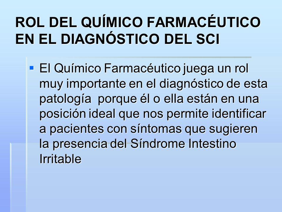 ROL DEL QUÍMICO FARMACÉUTICO EN EL DIAGNÓSTICO DEL SCI