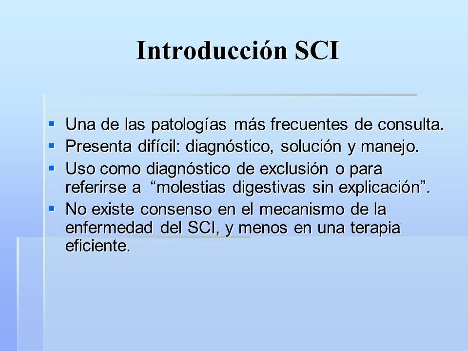 Introducción SCI Una de las patologías más frecuentes de consulta.