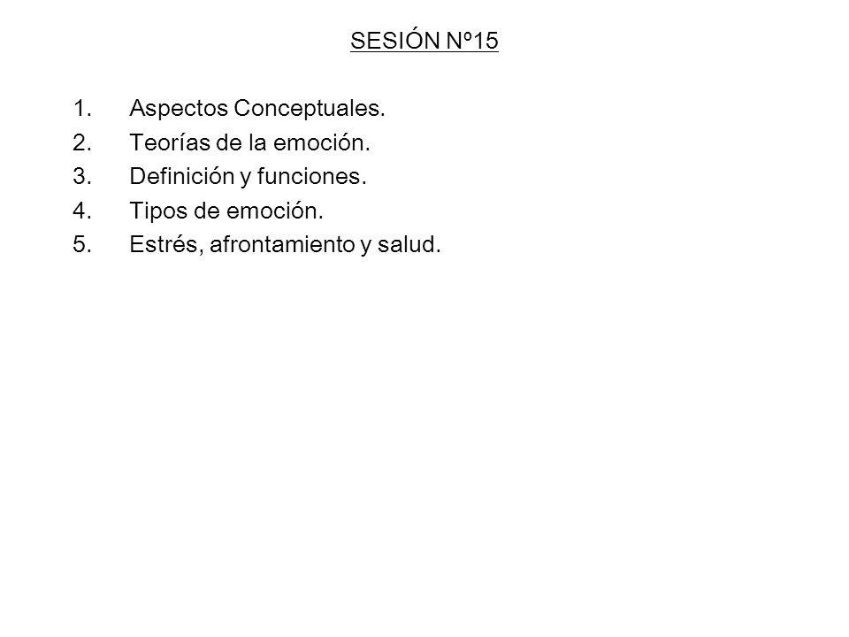 SESIÓN Nº15 Aspectos Conceptuales. Teorías de la emoción. Definición y funciones. Tipos de emoción.