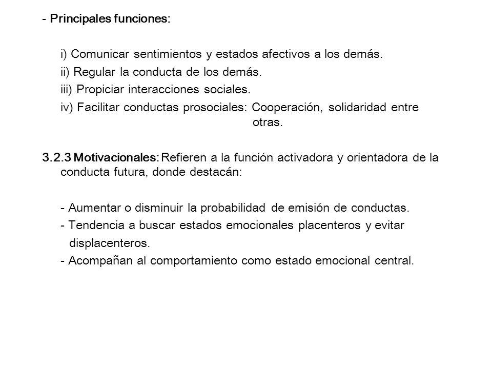 - Principales funciones: