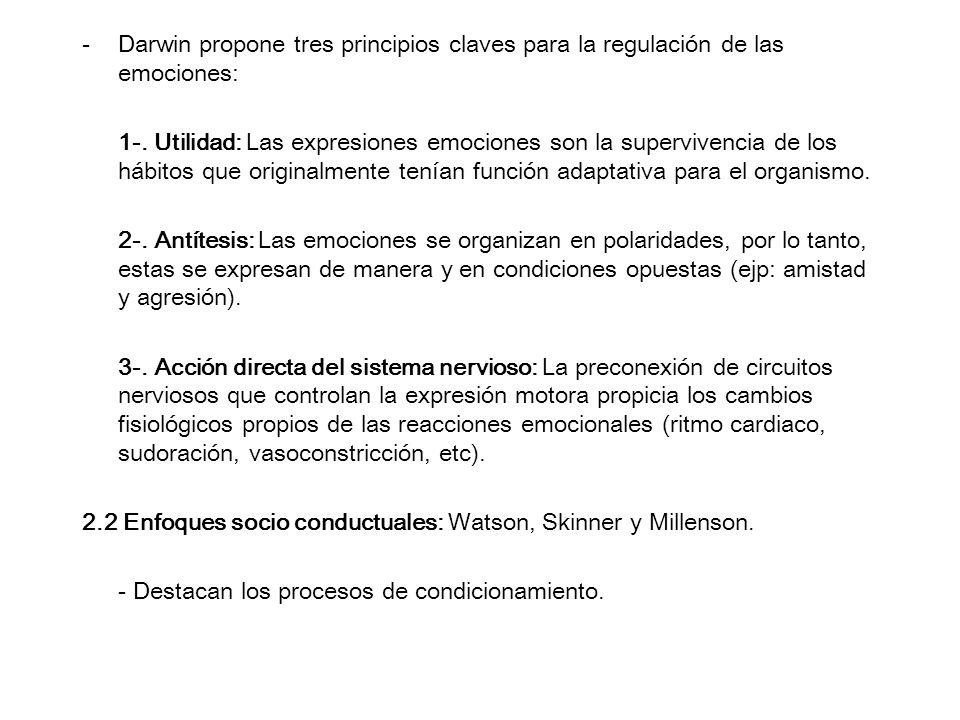 Darwin propone tres principios claves para la regulación de las emociones: