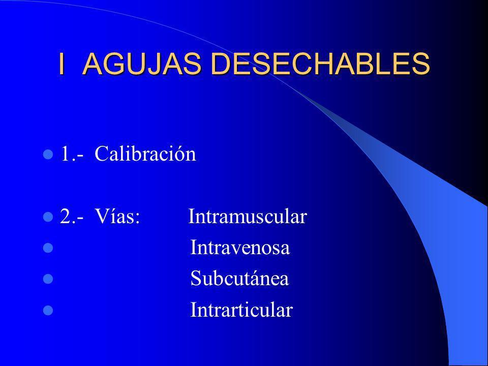 I AGUJAS DESECHABLES 1.- Calibración 2.- Vías: Intramuscular