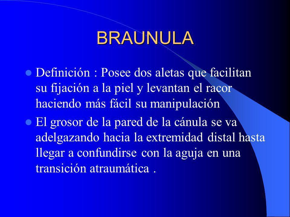 BRAUNULA Definición : Posee dos aletas que facilitan su fijación a la piel y levantan el racor haciendo más fácil su manipulación.