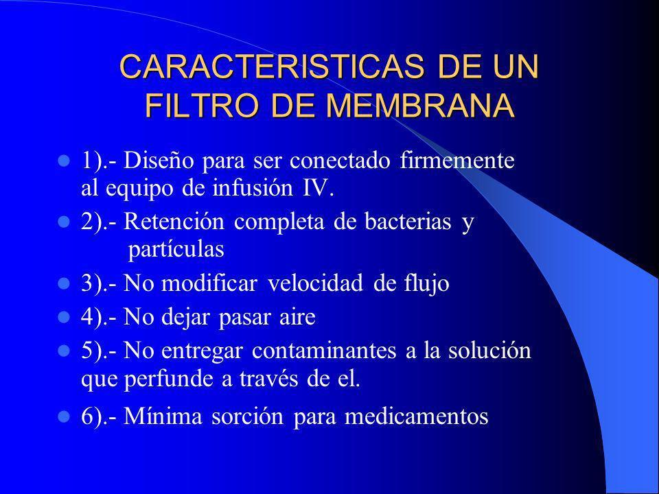 CARACTERISTICAS DE UN FILTRO DE MEMBRANA