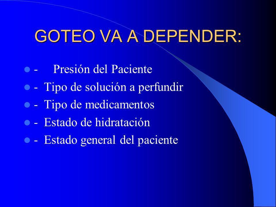 GOTEO VA A DEPENDER: - Presión del Paciente