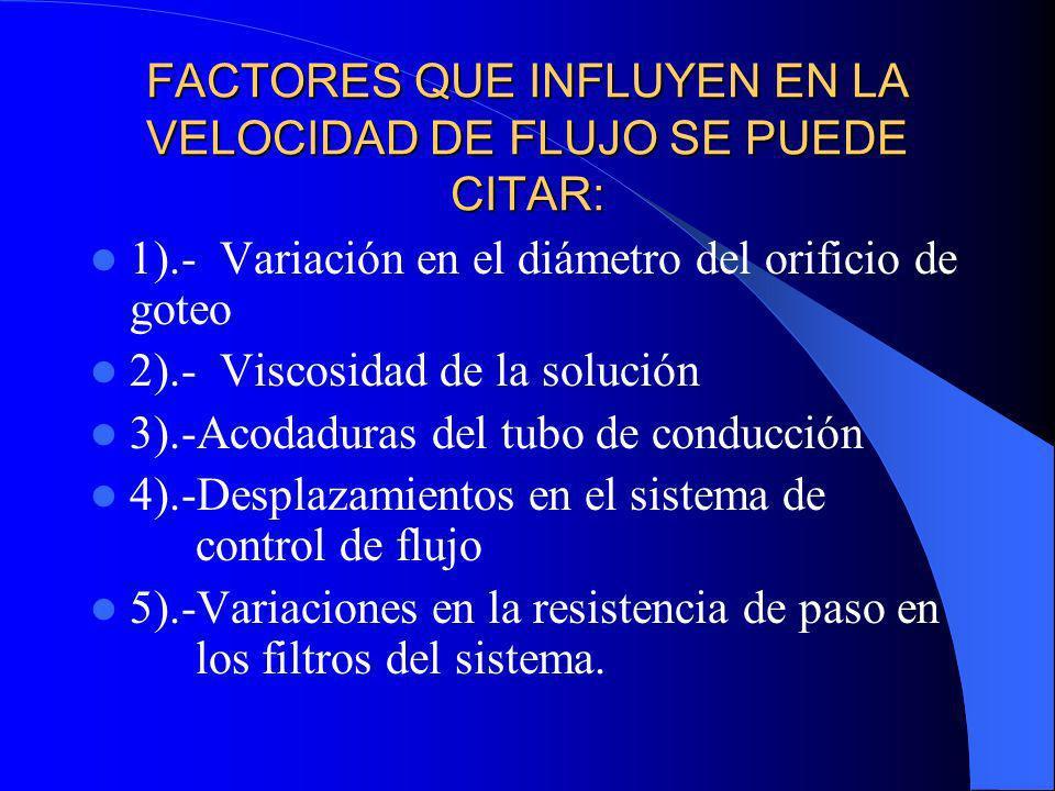 FACTORES QUE INFLUYEN EN LA VELOCIDAD DE FLUJO SE PUEDE CITAR: