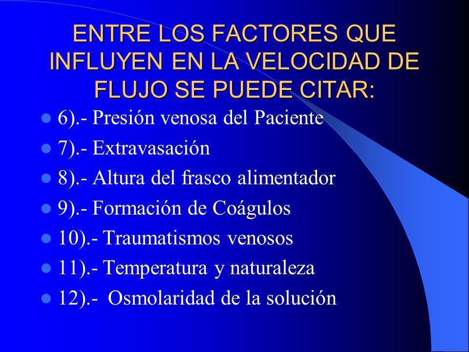 ENTRE LOS FACTORES QUE INFLUYEN EN LA VELOCIDAD DE FLUJO SE PUEDE CITAR: