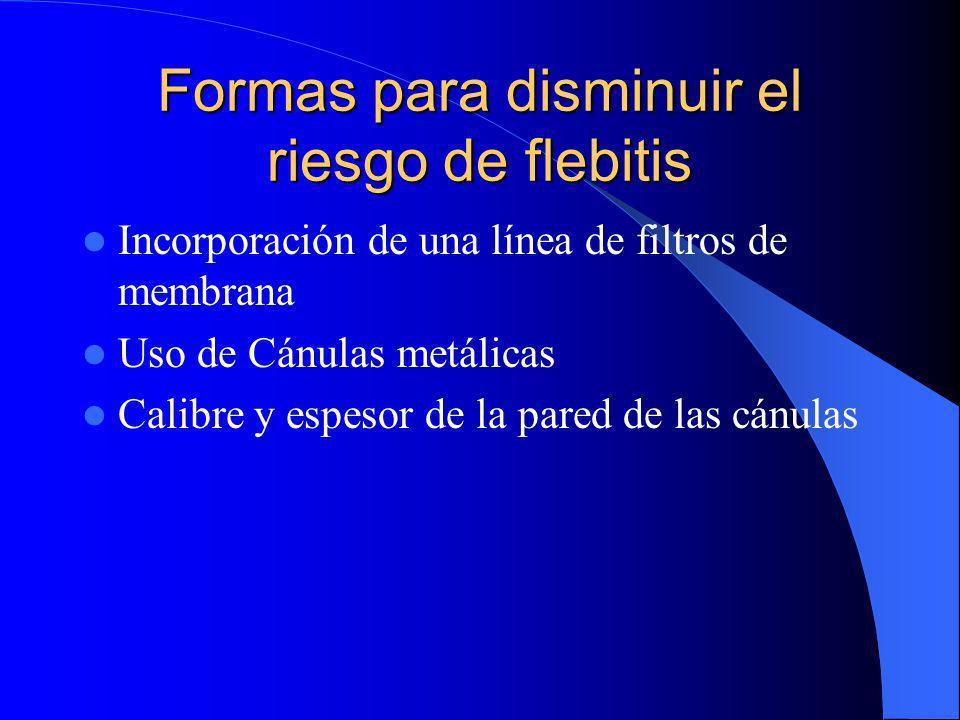 Formas para disminuir el riesgo de flebitis