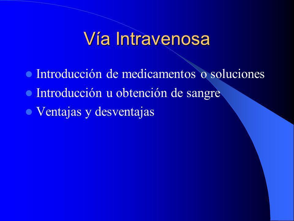 Vía Intravenosa Introducción de medicamentos o soluciones