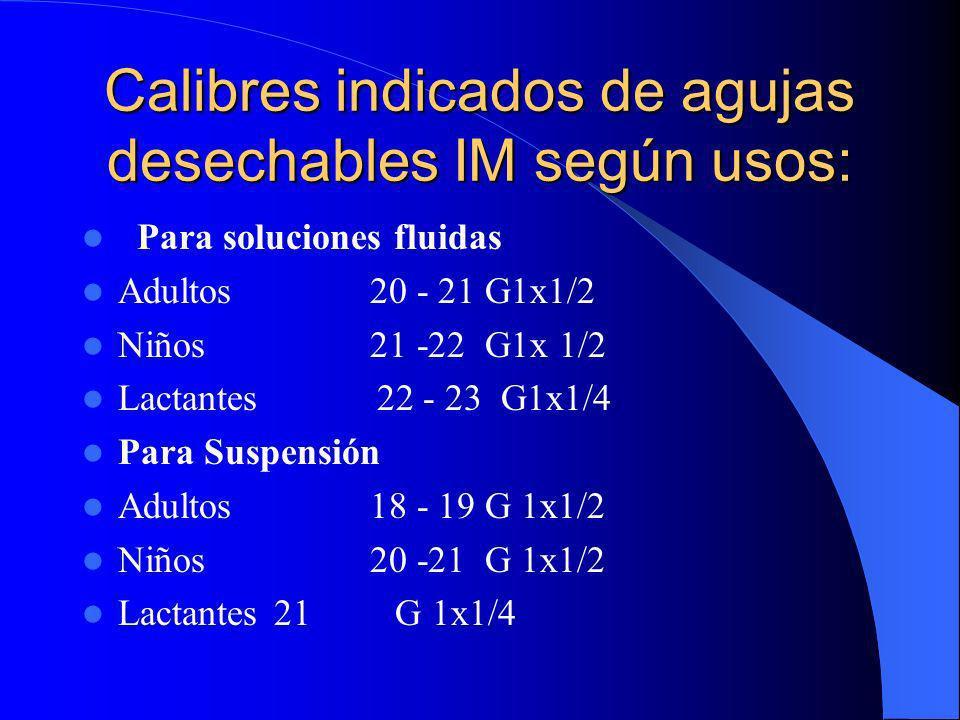 Calibres indicados de agujas desechables IM según usos: