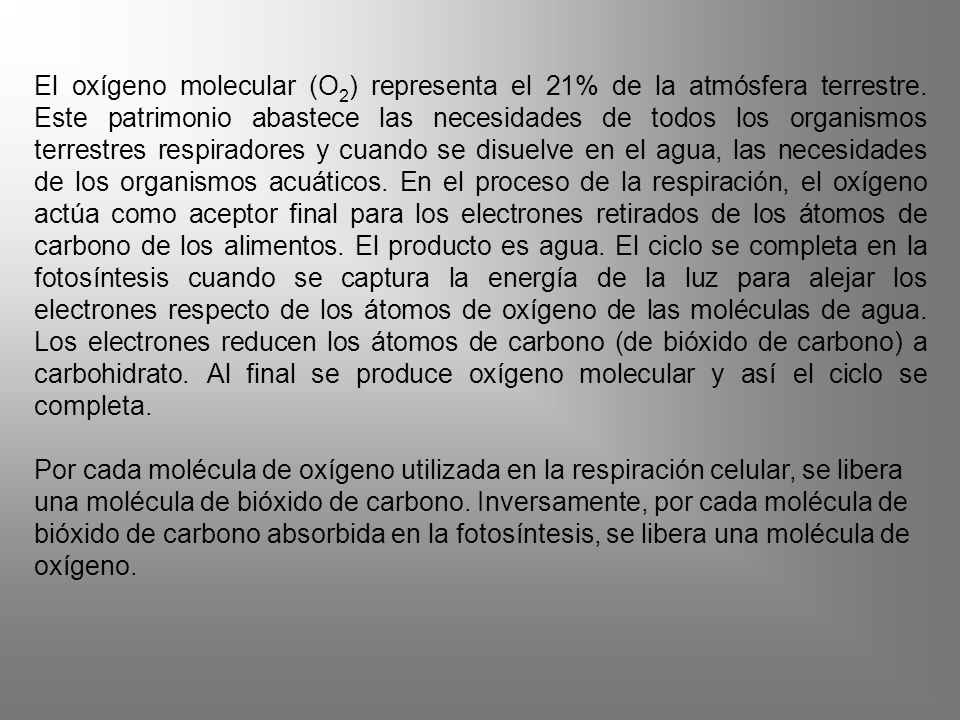El oxígeno molecular (O2) representa el 21% de la atmósfera terrestre