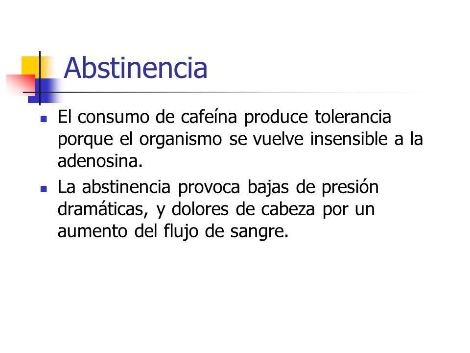 AbstinenciaEl consumo de cafeína produce tolerancia porque el organismo se vuelve insensible a la adenosina.
