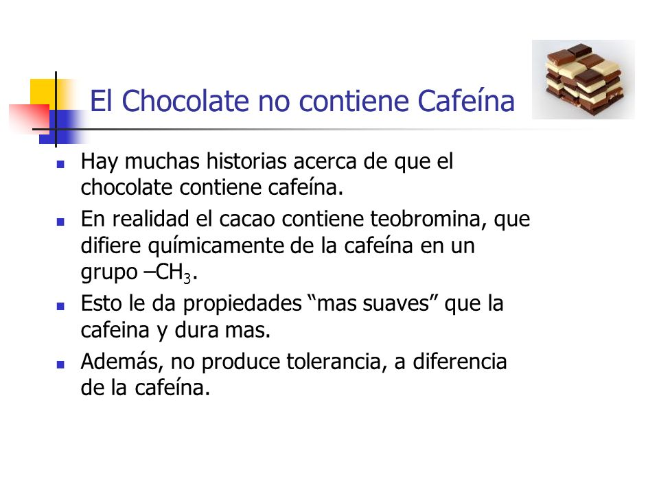 El Chocolate no contiene Cafeína
