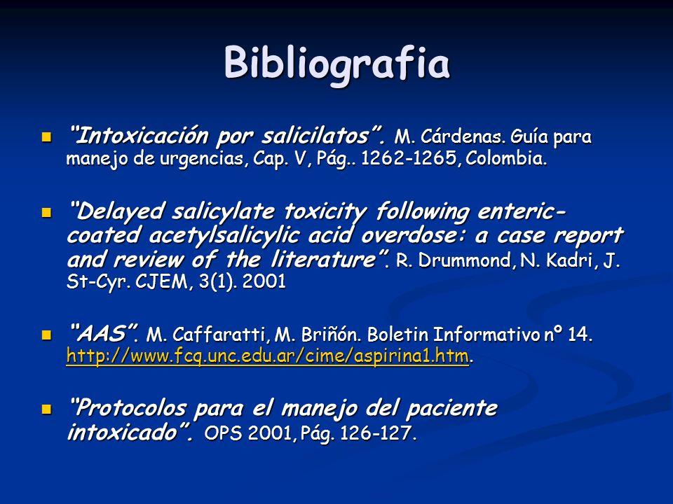 Bibliografia Intoxicación por salicilatos . M. Cárdenas. Guía para manejo de urgencias, Cap. V, Pág.. 1262-1265, Colombia.