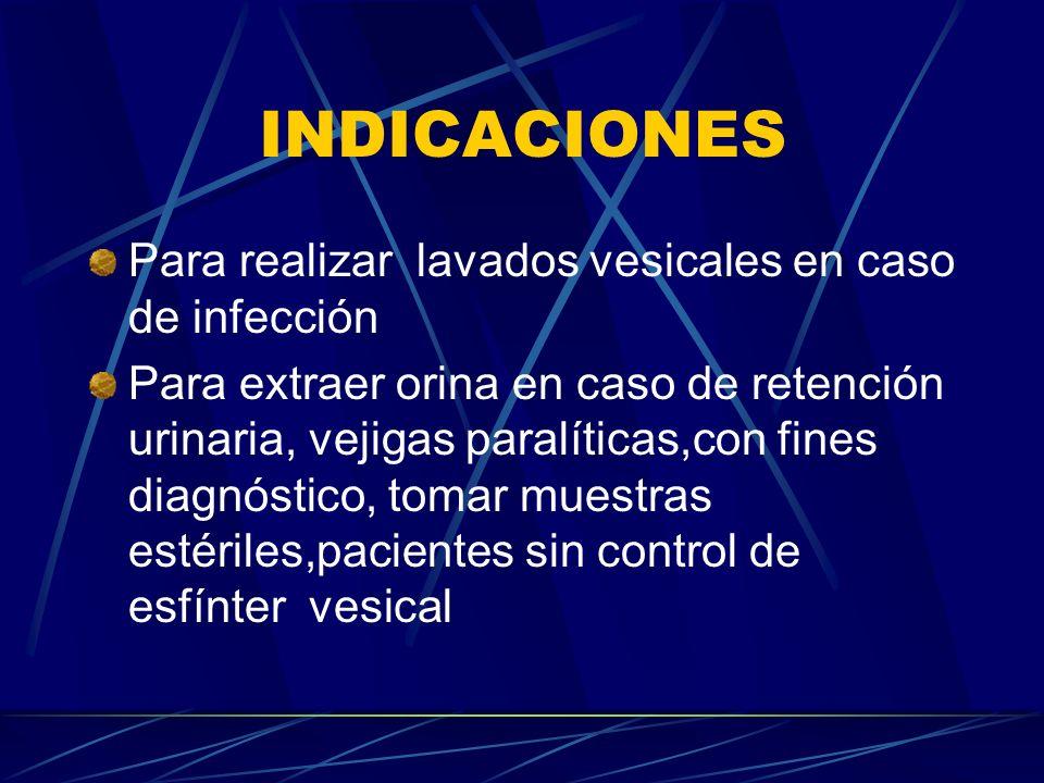 INDICACIONES Para realizar lavados vesicales en caso de infección