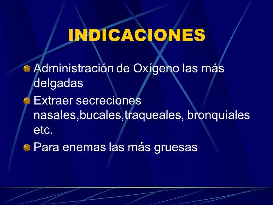 INDICACIONES Administración de Oxígeno las más delgadas