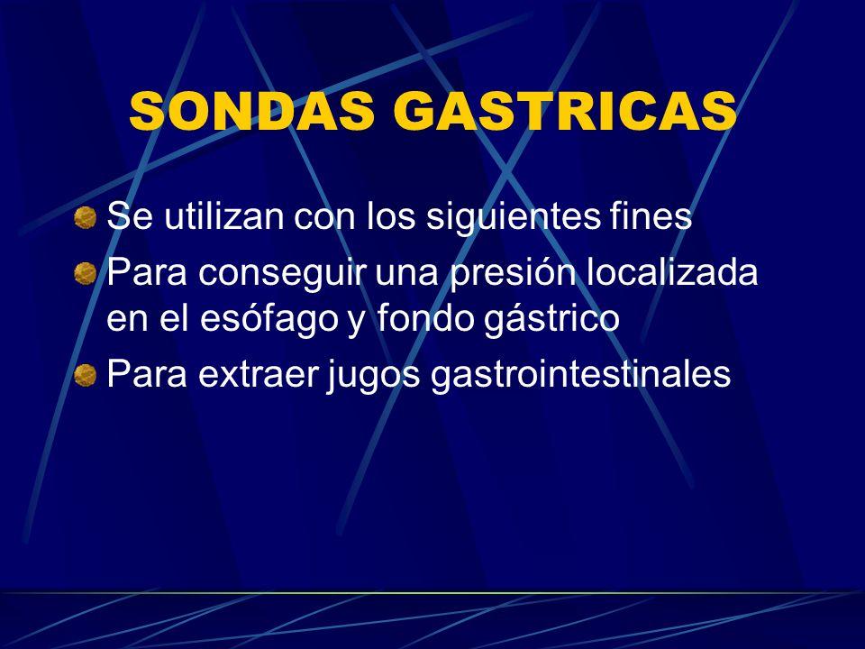 SONDAS GASTRICAS Se utilizan con los siguientes fines
