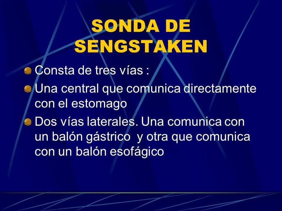 SONDA DE SENGSTAKEN Consta de tres vías :