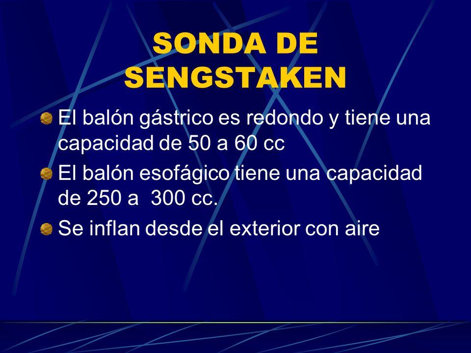 SONDA DE SENGSTAKEN El balón gástrico es redondo y tiene una capacidad de 50 a 60 cc. El balón esofágico tiene una capacidad de 250 a 300 cc.
