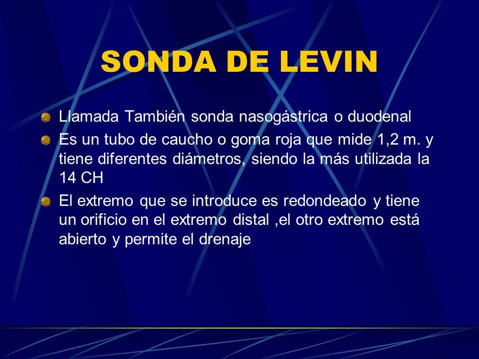 SONDA DE LEVIN Llamada También sonda nasogástrica o duodenal